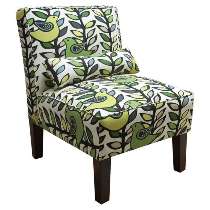 Best Cerise Accent Chair With A Fabulous Green White And Blue Leaf Pattern With Birds Upholstered 400 x 300