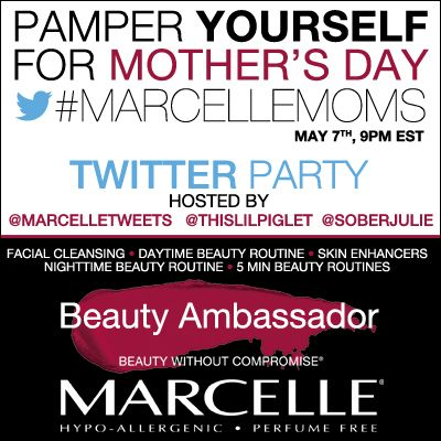 Take an hour to chat with us on May 7th! Get ready to pamper yourself!!  #MarcelleMoms #TwitterParty #prizes #beauty