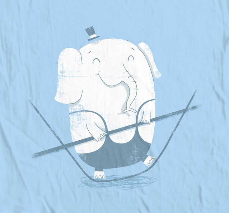 Tightrope Elephant T-shirt Design, This cute textured design was made for Threadless's circus competition.   Buy it here as a piece of clothing or print .  boney.threadless.com