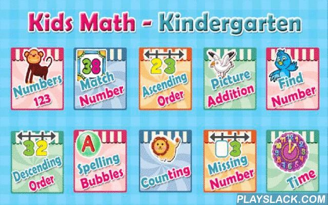 Kids Math - Kindergarten  Android App - playslack.com , Kids Math - Kindergarten takes a creative approach to teaching math for kids in Kindergarten. Colorful and interactive activities will encourage kids to learn essential math concepts in a fun way.The app offers the following features1) Numbers  In this activity kids will recognize and learn numbers from 1 - 302) Match Number This activity is a memory game which involves numbers3) Following activities uses Number Line to rearrange…