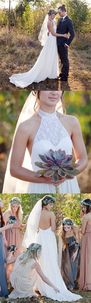 Most Popular Halter Lace Chiffon Illusion Wedding Dresses, Cheap Count – SofieBridal #WeddingFavorsCheap