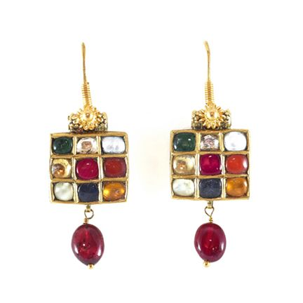 SUE OLLEMANS ORIENTAL WORKS OF ART (antique) A Pair of Navaratna Earrings, South India 20th Century