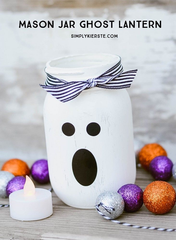 Spooky and adorable, this super cute mason jar ghost lantern is easy to make and perfect for your Halloween decor!