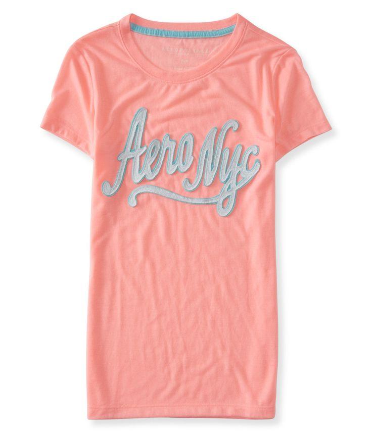 Camiseta Aeropostale Feminina NYC SCRIPT - Salmão