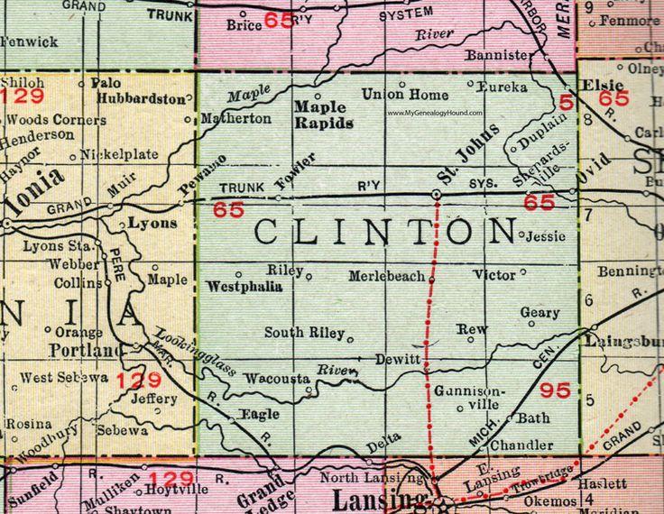 Clinton County, Michigan, 1911, Map, Rand McNally, St. Johns, DeWitt, Westphalia, Fowler, Eagle, Eureka, Elsie, Ovid, Bath, Chandler, Maple Rapids, Union Home, Wacousta, Gunnisonville