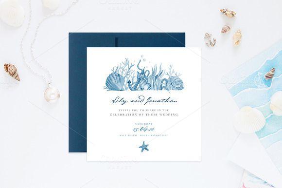 Nautical Wedding Invitations by NinaDolgopolova on @creativemarket