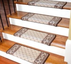 Dean Modern DIY Bullnose Wraparound Non-Skid Carpet Stair Treads - Caramel Scroll Border : Non Skid Modern Bullnose Wraparound Stair Treads By Dean Flooring