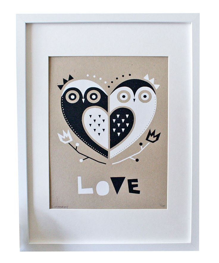 Take a look at this Owl 'Love' Kraft Screen Print on zulily today!