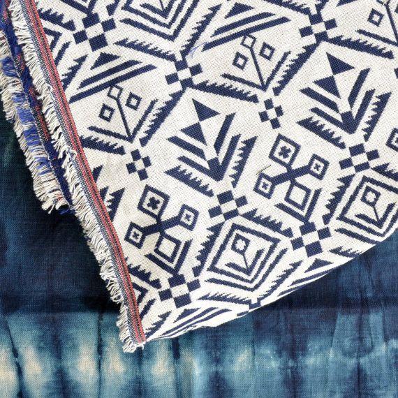 Geometrische Stoff / Stoff gewebt / Aztec, Tribal, mexikanische Muster / Picknick-Decke / Tribal geometrische Gebilde / Double Weben Stoff