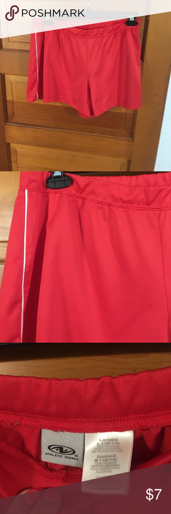 Athletic wear shorts Where them alone when you go jogging or put over a swimsuit for the beach,either way they're soft comfortable and in great shape. Athletic Works Shorts