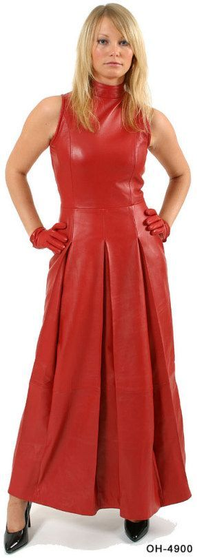 Red leather maxi dress and gloves