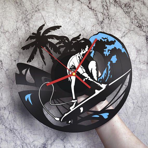 Surf art reloj de pared de discos de vinilo decoración de la