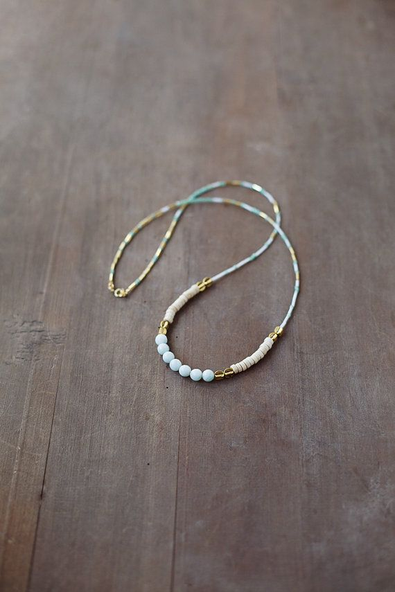 Mixed Media Boho Necklace / Mint- Gold - Light Necklace / Gemstone Necklace…