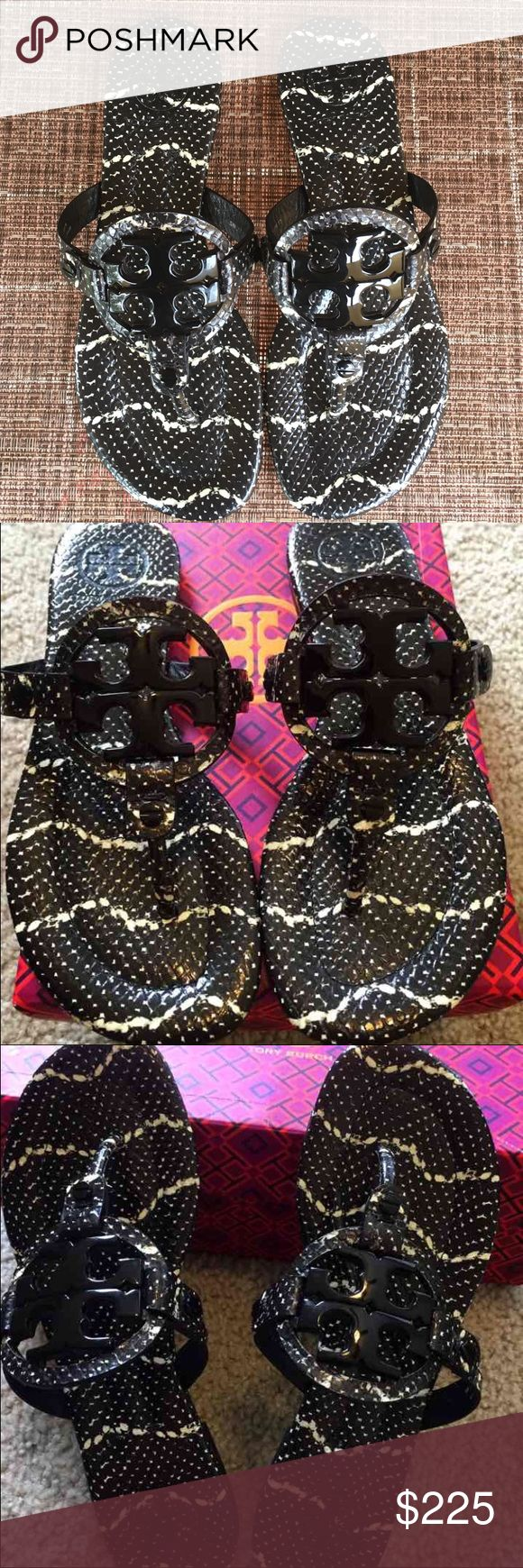 Tory Burch Miller Mojave Sandals 🎉Tory Burch Miller Mojave Black and Ivory Sandals.  Brand new without tags.  Box is included.  If you like Tory Burch, you will love these!!  Timeless and chic!  Must have! Tory Burch Shoes Sandals
