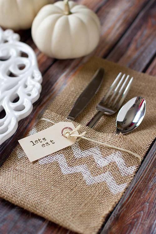 Burlap Utensil Holder -- Creating a unique table setting is easy with Americana Acrylics. #burlap #chevron