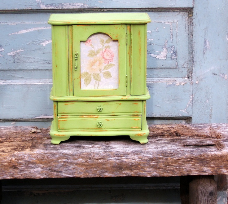 Farmhouse French Armoire Jewelry Box, Handpainted Green. $99.00, via Etsy.