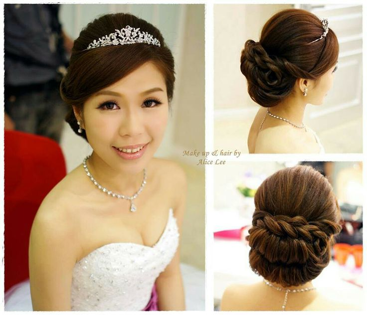 princess low bun with braid, simple and elegant bridal hairatyle