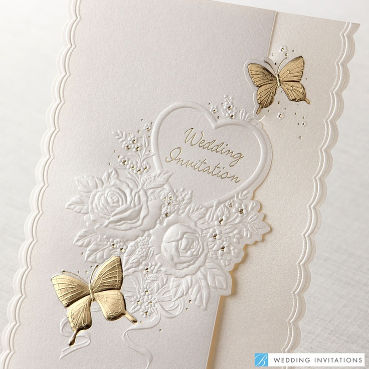 how to emboss wedding invitations diy%0A Embossed Roses and Butterflies by B Wedding Invitations