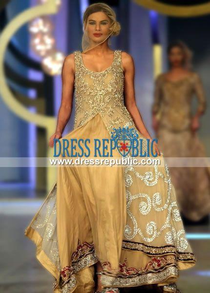 Dusty Gold Braska - DR11010, Special Occasion Pakistani Designer Suits by Mehdi 2013-14 Herricks, NY by www.dressrepublic.com
