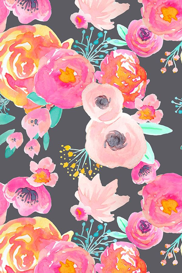 Blush Bloom floral design by indybloomdesign - Bright gorgeous hand painted florals on a gray background on fabric, wallpaper, and gift wrap. Pink and green florals with yellow accents by indie designer indybloomdesign