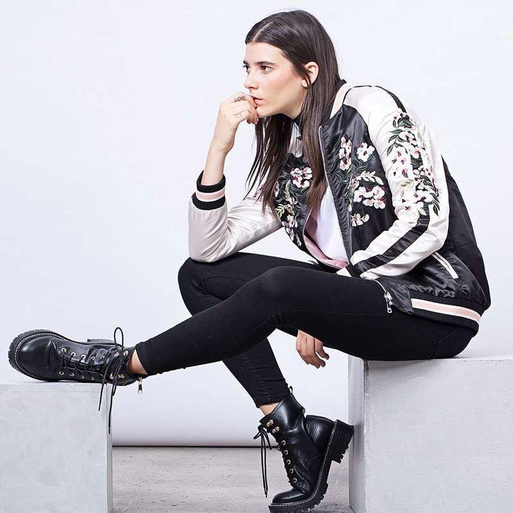 Jaket wanita floral bordir bomber jaket satin hitam vintage musim dingin musim semi wanita merek fashion mantel chaquetas clothing