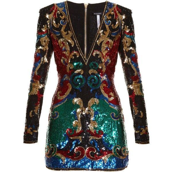 Balmain Sequin-embellished mini dress (12.840 BRL) ❤ liked on Polyvore featuring dresses, multi, plunging v neck dress, short sequin cocktail dresses, glamorous dresses, v neck sequin dress and v neck cocktail dress