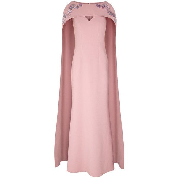 SAFiYAA Mauve Embellished Cape Gown ($2,335) ❤ liked on Polyvore featuring dresses, gowns, pink dress, embellished evening dress, beaded dresses, mauve evening gown and mauve dress