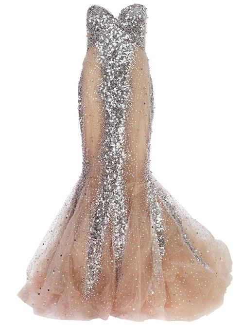 Nude silk blend evening gown from Zuhair Murad reception dress