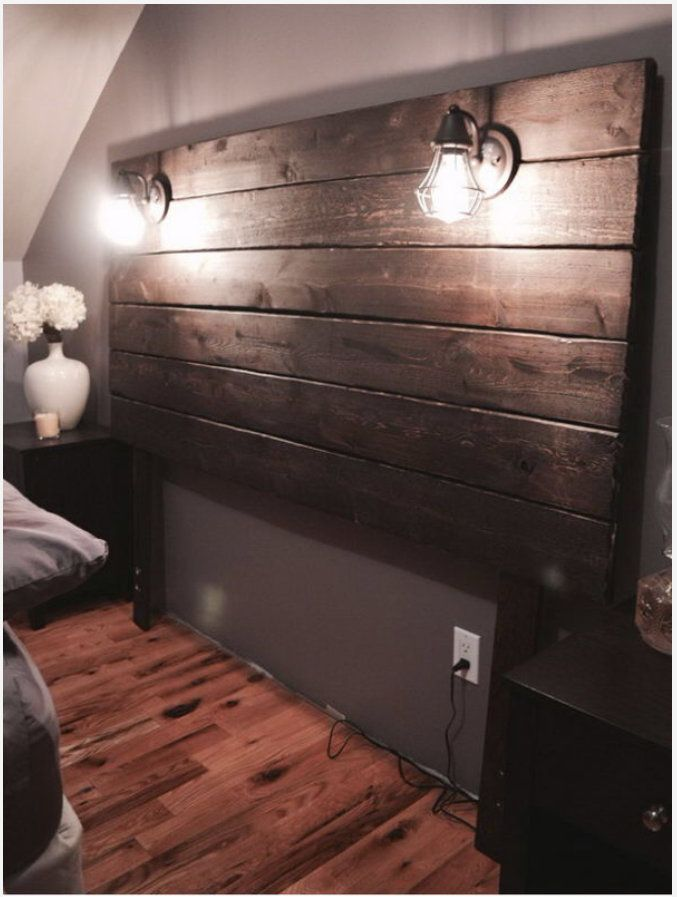 Custom Plank Headboard With Lamps Etsy Rustic Wooden Headboard Home Diy Home Decor