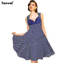 Tonval S - 4XL Women Dots Vintage 50s Dress Summer Tunic Sexy Evening Party Elegant Rockabilly Floral Swing Plus Size Dresses  Price: US $16.99  Sale Price: US $14.78  #dressional