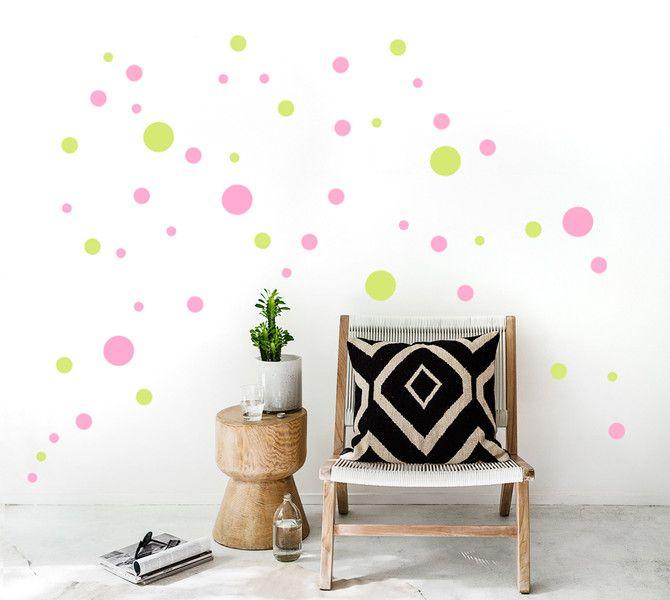 Vintage Wanddeko Wandsticker Punkte Konfetti Dots farbig ein Designerst ck von UrbanARTBerlin bei