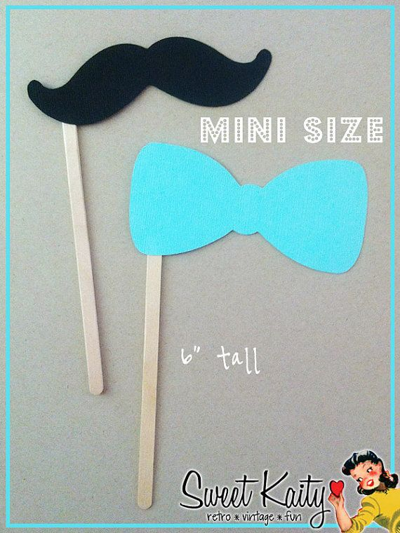 12 Mini Mustaches and Bow Ties on a Stick - Kid Friendly Photo Booth Props - Mini Mustache Party Favors - Little Man Party on Etsy, $6.00