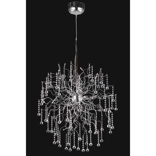 Astro chrome eighteen light chandelier with clear royal cut crystals