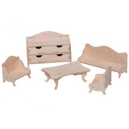 Stylish furniture for dollhouse living room. The set consists of: a sofa, 2 pcs of chairs, table and chest of drawers. Made by Neo-Spiro.