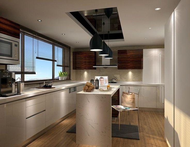 Bei einem niedrigen Design einen Akzent in die Decke setzen - schiebegardinen kurz wohnzimmer