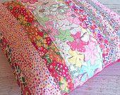 Unique Liberty Fabric Cushion Cover - Decorative Home Decor Gift Idea - Handmade in Australia - Patchwork Stripe Design.  Shop Rhapsody and Thread via Etsy. Mauvey Pink Betsy Garden Wonderland Kaylie Phoebe