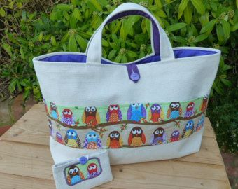 Large Knitting Bag/Tote with 'Owls' Pocket, Purple Lining, and FREE Mini Sewing Kit in Matching Case