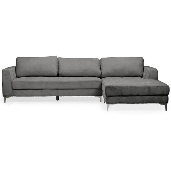 Baxton Studio Agnew Right Facing Sectional Sofa (1 200 AUD) ❤ liked on Polyvore featuring home, furniture, sofas, nocolor, grey couch, grey furniture, gray sofa, gray wood furniture and grey wood furniture