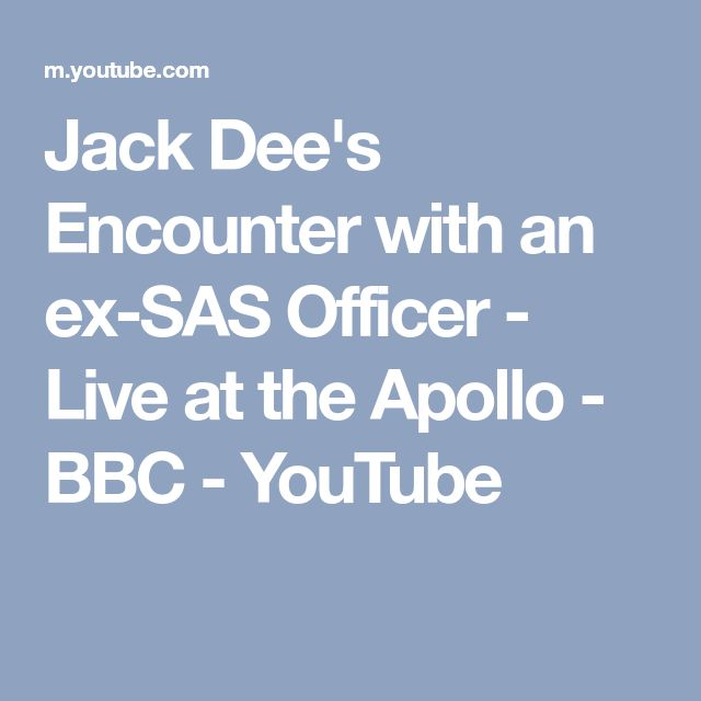 Jack Dee's Encounter with an ex-SAS Officer - Live at the Apollo - BBC - YouTube