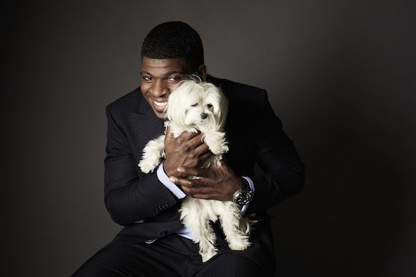 PK Subban holding a dog (Source: Fashion Shoot With PK Subban & Brandon Prust/Diary of a Social Gal)