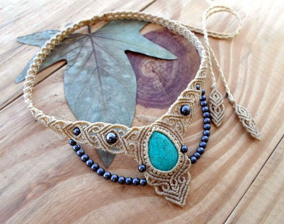 Turquoise macrame necklace, macrame stone, turquoise cabochon, micro macrame, micromacrame jewelry, fairy necklace, elven jewelry