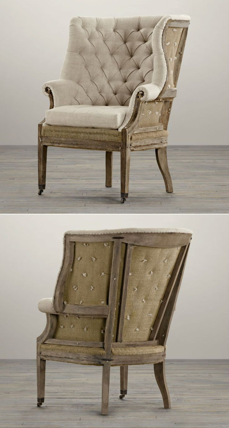 "Deconstructed 19th C. English Wing Chair, Belgian Linen in Sand :: $898 @ the Warehouse Sale! (On sale for $1345, Retail $1795) | Restoration Hardware :: [34""W x 34""D x 45""H, Delivery clearance: 29½""] Created by the Van Thieis. Mid 19th century S-scrolled wing back. Hand-built w/ a kiln-dried, corner-blocked solid, distressed walnut frame which is smoothly sanded & given a matte finish to look as it would before the final stain. Deeply tufted seat cushion w/ down blend. Stain-resistance…"
