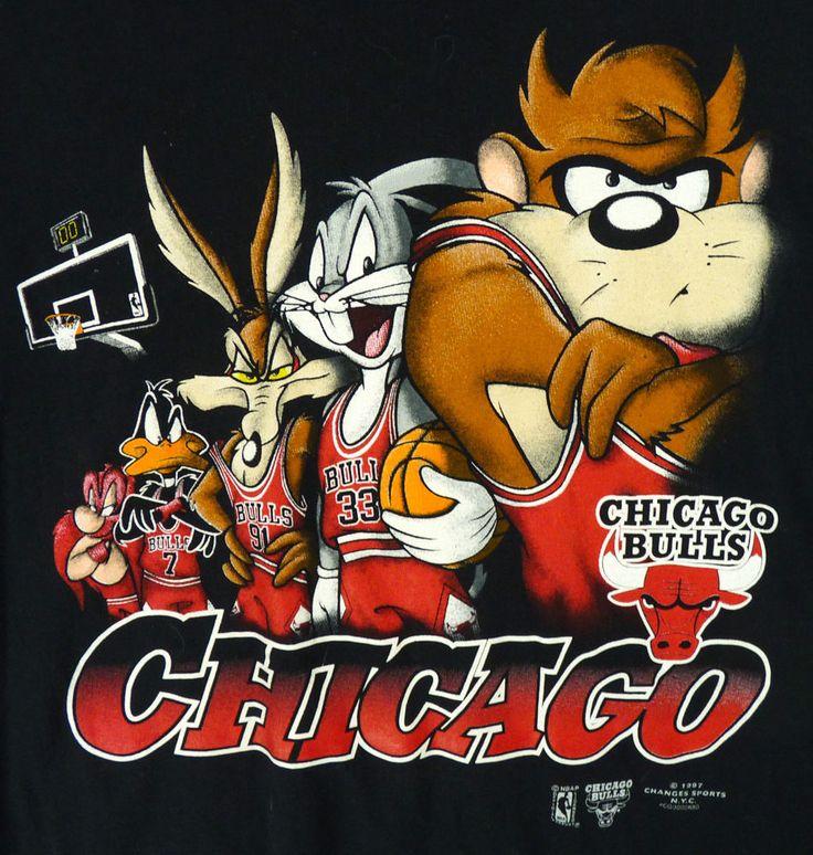 Vintage 90s Chicago BULLS & Looney Tunes T-Shirt XL Black 1997 Dated Space Jam #Tultex #ChicagoBulls