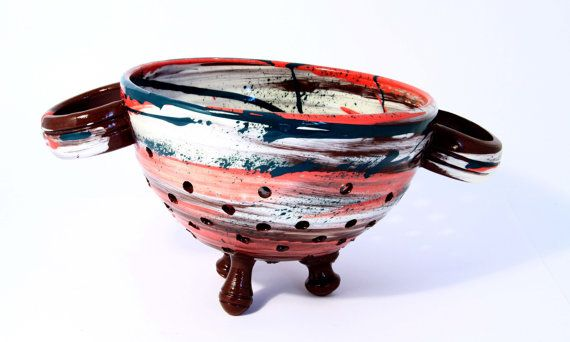 Ceramic colander. Colourful handmade ceramic by WigwamCeramics, £65.00