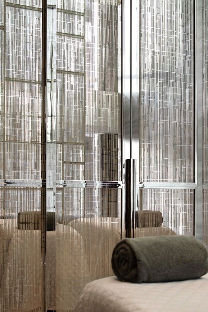 Etched glass wardrobe doors // Yabu Pushelberg Hotel Suits for Park Hyatt