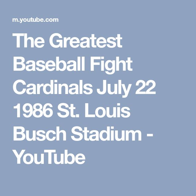 The Greatest Baseball Fight Cardinals July 22 1986 St. Louis Busch Stadium - YouTube