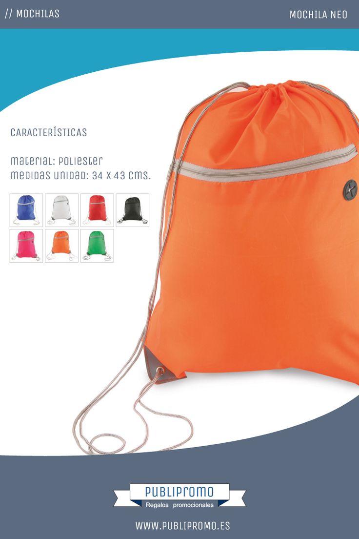 Mochilas saco baratas de cuerdas personalizadas modelo Neo. Están disponibles en siete colores y cuentan con bolsillo frontal y ojal para los auriculares. Encuentra esta mochila personalizada y otras muchas en Publipromo.es