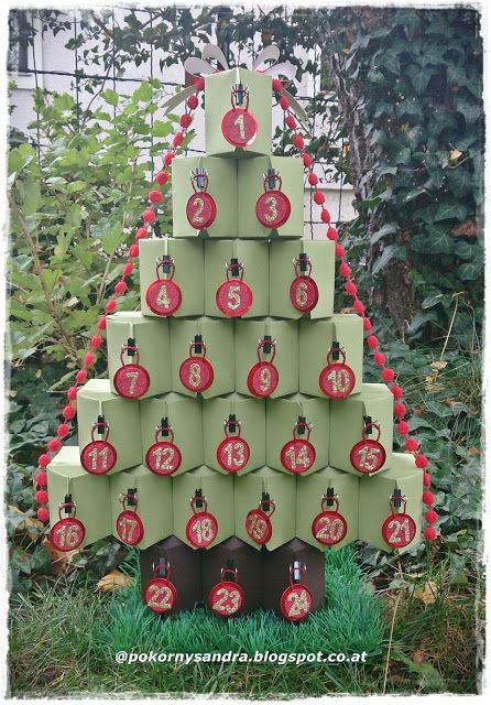 advent tree from the Stampin' Up! Baker's Box by Sandra at www.pokornysandra.blogspot.com