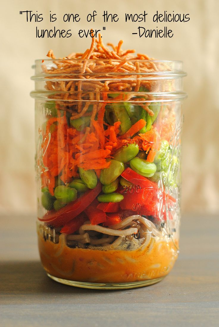 Asian Noodle Salad Jars - a portable, colorful and healthful lunch! | foxeslovelemons.com