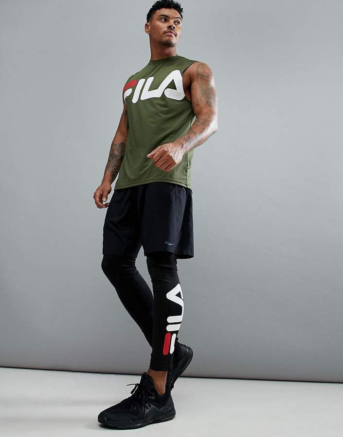 Fila Men's Black Running Tights, jogging tights, gym tights, compression tights, yoga leggings, barre leggings, soccer tights, futsal tights, cold weather running, sports tights, breathable, moisture wicking, athletic wear, gym wear, men's fitness, sports wear, health wear, weight loss wear, activewear, #affiliate, #ad
